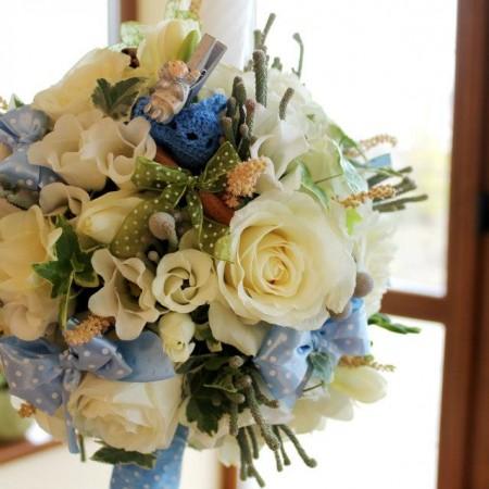 Lumanare botez albastru alb trandafiri (1)