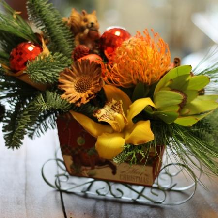 aranjament floral în săniuță Red spirit