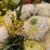 aranjament floral cu mimosa si bujori