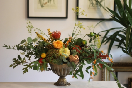 cupă antichizată cu flori și dovlecei