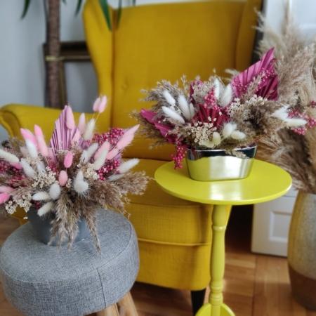 aranjament decor cu flori uscate