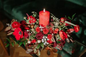 Aranjament de iarnă cu lumânare Ruby Red