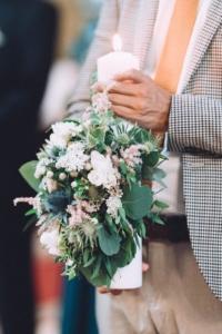 Nunta in alb si verde - lumanari de cununie
