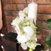 Lumânare de botez cu orhidee albă în spirală Blanca
