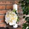 Lumânare de botez rotundă cu orhidee albă Unicorn