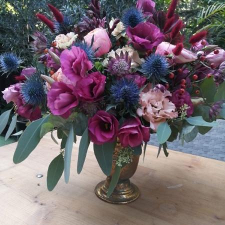 Aranjament floral în cupă Purple Rain