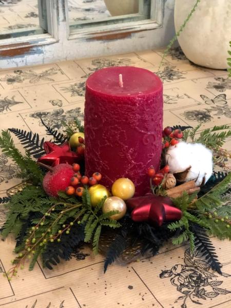Decorațiune cu lumânare de Crăciun și brad natural Joy to the world