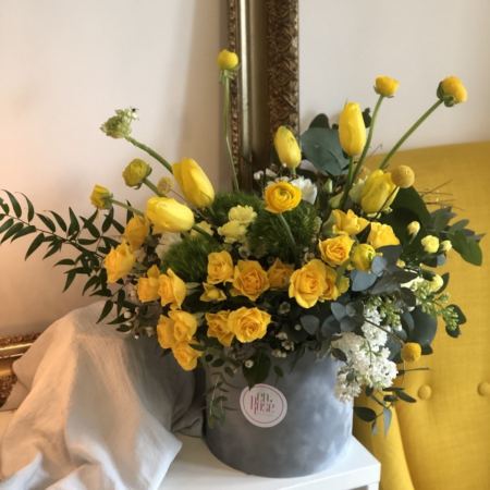 Cutie gri cu flori Yellow & Grey In the Mix