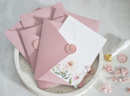 Felicitare florală cu sigiliu Dusty Pink
