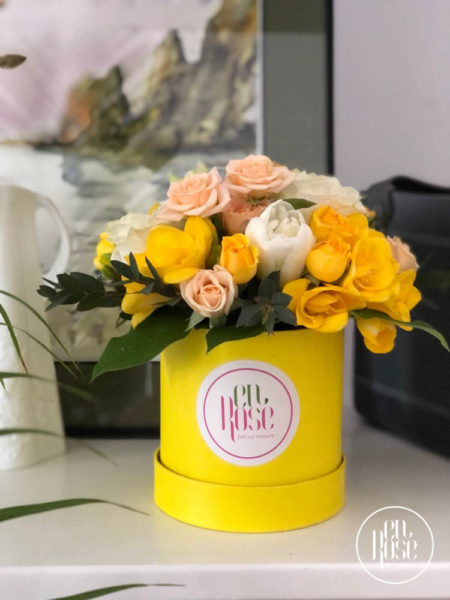 cutie cu flori galbene Soleil