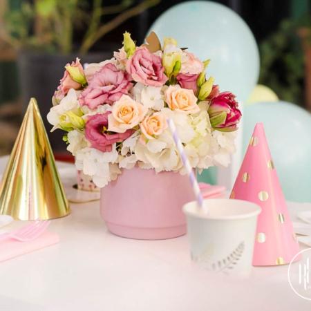 aranjament floral în vas roz Flamingo
